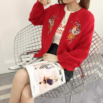 Autumn Winter New Style Zipper Knitwear Lovely Fashion All Matched Rooster Embroidered Women Cardigan Knitted Sweater