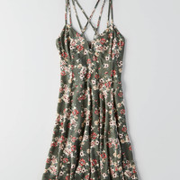 AEO Printed Strappy Dress, Olive