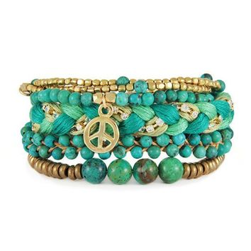 Turquoise and Gold Peace Charm Stack