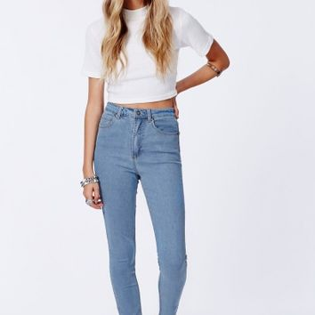 Missguided - Edie Light Blue High Waist Skinny Jeans