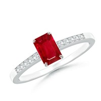 Double Claw Ruby Solitaire Ring With Diamond Shoulders