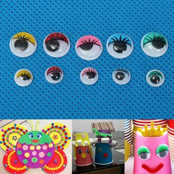 100pcs 8mm/12mm Eyelashes Wiggly Wobbly Googly Eyes For DIY Craft Decoration Doll Toys Colorful Movable Eye Dolls Accessories
