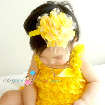Large Yellow heart Dots Tutu Flower Headband