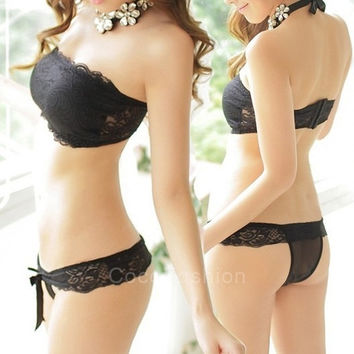 Women Cute Sexy lace Strapless Push-up Wrap Bra Sets padded Bralette Bustier Cropped Tops Unlined tank CFC = 1932888516