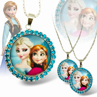 Girls Frozen Elsa/Anna Pendant + Necklace Chain 16 inch + Pair of Hair Pins + Jewelry Pouch - FREE SHIPPING