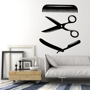 Vinyl Wall Decal Barber Tools Hair Master Stylist Comb Scissors Stickers Mural (g1227)