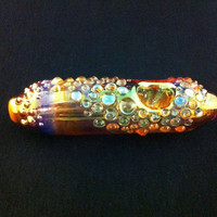 Sale Glass Pipe Beautifully Fumed Silver and Gold Heavy Dot Trail and Flat Bottom Color Changing Tobacco Pipe