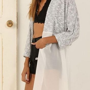 White Patchwork Long Sleeve Fashion Loose Cardigan Sweater