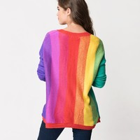 Rainbow Striped Long Sleeve Knit Sweater