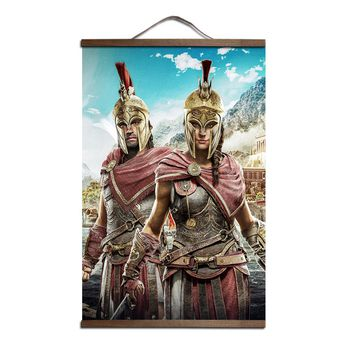 ZHUGEGE Assassins Creed Odyssey poster for HD canvas posters decoration painting wall art with solid wood hanging scroll