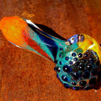 Rainbow Swirl Thick Glass Pipe With Texture