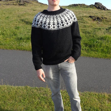 Black Icelandic sweater with Raven pattern handmade from wool