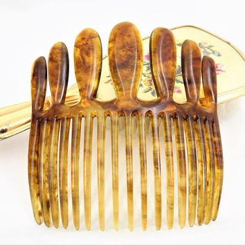 Large Faux Tortoise Shell Hair Comb, Bold Design, Curved, Vintage Hair Accessories
