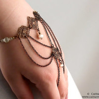 Ondine Bracelet - Bridal Ivory Cat's Eye Filigree Renaissance Wedding