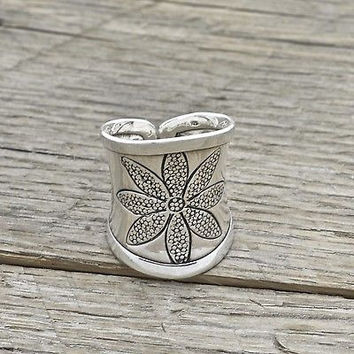 Estate Sterling Silver Flower Ring Adjustable Size 925 Fine Jewelry