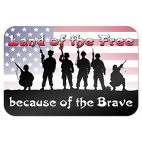 "Land of the Free because of the Brave - Patriotic America USA 9"" x 6"" Metal Sign"