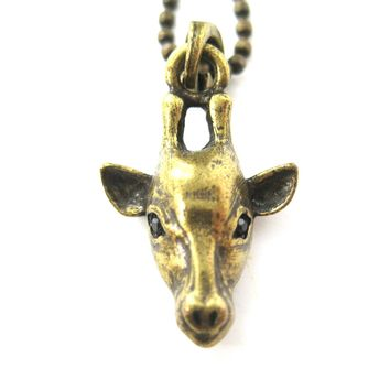 Giraffe Realistic Animal Charm Necklace in Brass | Animal Jewelry