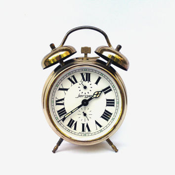 Vintage alarm clock Jerger Western Germany mechanical clock retro clock mid century alarm clock rustic home decor wind up alarm working