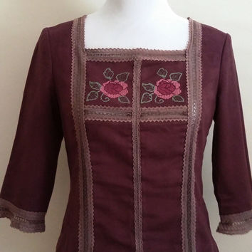 70's top, S, ultra suede top, purple top, embroidered top, folksy top, embroidered tunic, maroon top