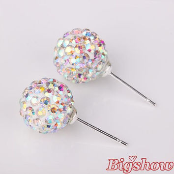 silver plated shamballa stud earrings 10mm made with austrian element crystal many colors ab White color