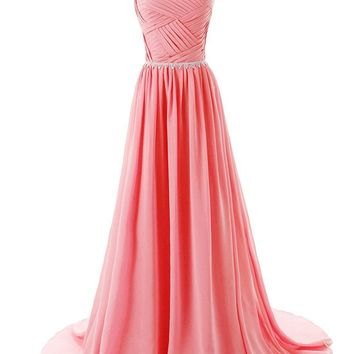 Women's O-Neck Sleeveless Beaded Long Bridesmaid Dress Chiffon Prom Gown