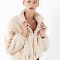 UO Willow Fuzzy Drawstring Teddy Jacket | Urban Outfitters