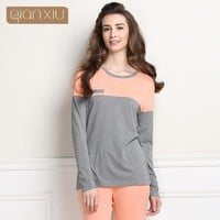 Qianxiu Casual Pajama Sets For Women Patchwork Sleepwear