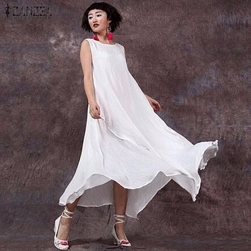 ZANZEA Women 2016 Summer Cotton Linen Vintage Dress Long Maxi Casual Loose Sleeveless O Neck Solid Dresses Vestidos Plus Size
