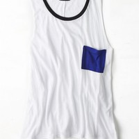 AEO Women's Colorblock Muscle Tank (White)