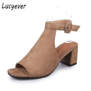 Lucyever 2017 Fashion Women's Spring Summer Open Toe Sandals Casual Faux Suede Ankle Strap Boots Thick High Heels Shoes Woman