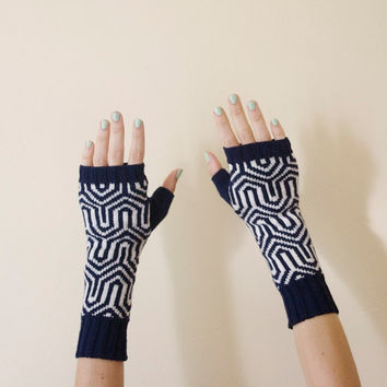 Knit Fingerless Gloves Hand Warmers Mittens - Navy & White
