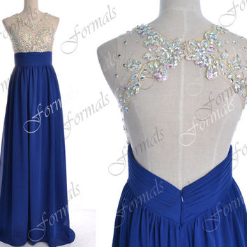 2014 Prom Dresses, Royal Blue Formal Dresses, Straps Lace/ Crystal Long Chiffon Prom Dresses with Open Back, Wedding Party Dresses