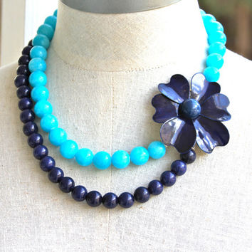Aqua Blue and Navy Blue Statement Necklace-Navy Blue Aqua Jade Glass Beads Double Strand Vintage Enamel Flower Necklace-Wedding,Bridal,Beach