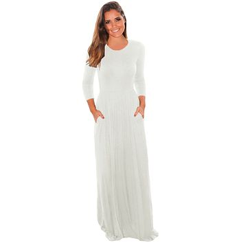 Chicloth White Pocket Design 3/4 Sleeves Maxi Dress