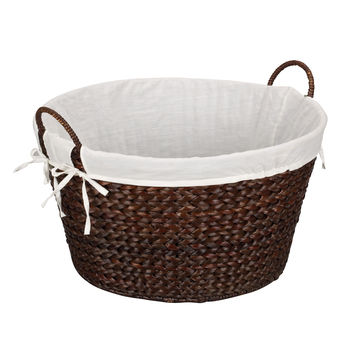 Banana Leaf Round Laundry Basket in Rich Burnished Brown