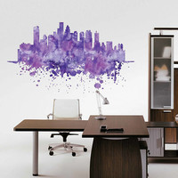 kcik1889 Full Color Wall decal Watercolor Boston city view Skyline living room bedroom