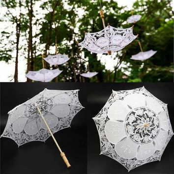 ONETOW 23inch White Lace Embroidered Parasol Sun Umbrella Bridal Wedding Party Decorative Supplies