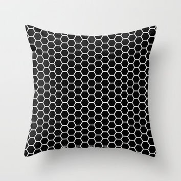 honeycomb - black and white Throw Pillow by her art | Society6