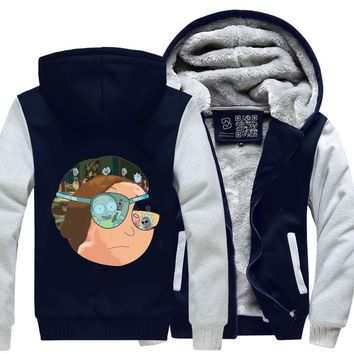 Collage Eye Patch Morty, Rick And Morty Fleece Jacket