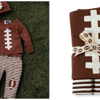 Mud Pie Baby-Boys Football Take Me Home Set + Blanket Or Without Blanket 3-6M