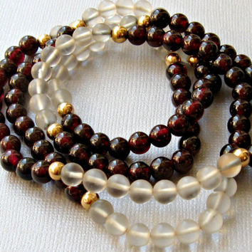 Garnet and Glass Bead Necklace Continuous Strand Artisan