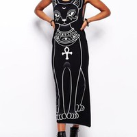 All Day Long Black Cat Printed Casual Dress