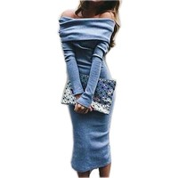 Women's Fashion Long Sleeve Strapless Low Cut Bodycon Dress