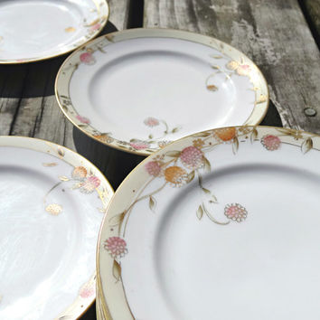 Antique Nippon (set of 9) Porcelain Plates Rising Sun Desert Bread Dishes Pink Floral