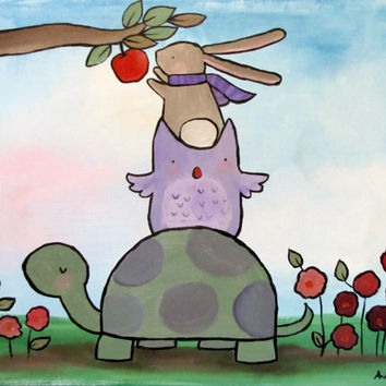 Woodland Nursery Animal Stack Cute Kids Wall Art Rabbit Owl and Turtle Whimsical Storybook Painting