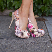Sexy Floral Open Toe Heels