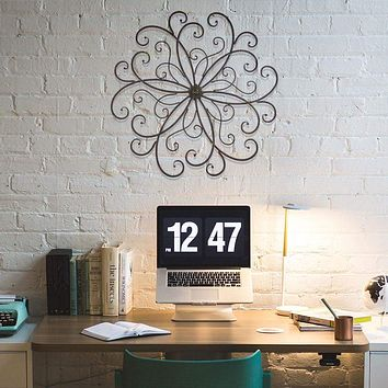 Benzara Metal Scroll Medallion Decorative Wall Decor, Black