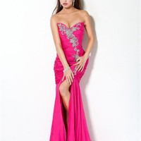 Sweetheart Column high slit open back rose red Long with Embroidery Prom Dress PD0971