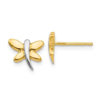 14K Two-Tone Gold with Rhodium Polished Dragonfly Post Earrings