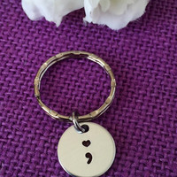 Semicolon Jewelry - Semicolon Keychain - Suicide Awareness - Suicide Prevention - Semicolon - Motivation - Heart Semicolon